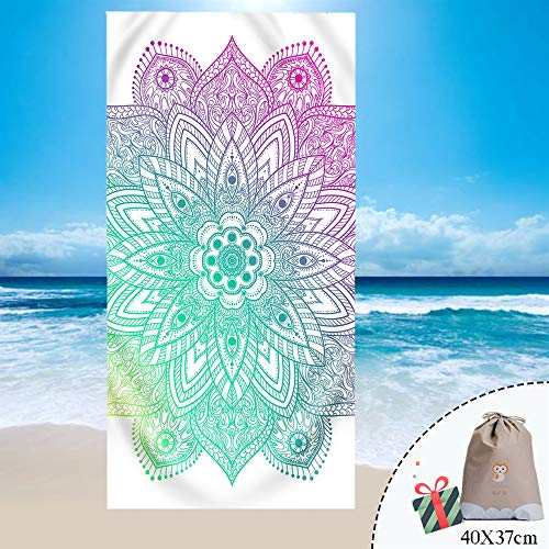 Fansu Toalla de Playa Mandala Bohemia Microfibra Absorción Verano, Rectangular Multi-Funcional para Toalla Baño Mantel Nadar Deportes Viajes Decoración (70 * 150cm,Morado)