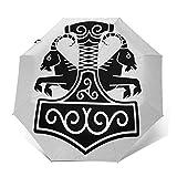 Paraguas Plegable Automático Impermeable Martillo 47, Paraguas De Viaje Compacto a Prueba De Viento, Folding Umbrella, Dosel Reforzado, Mango Ergonómico