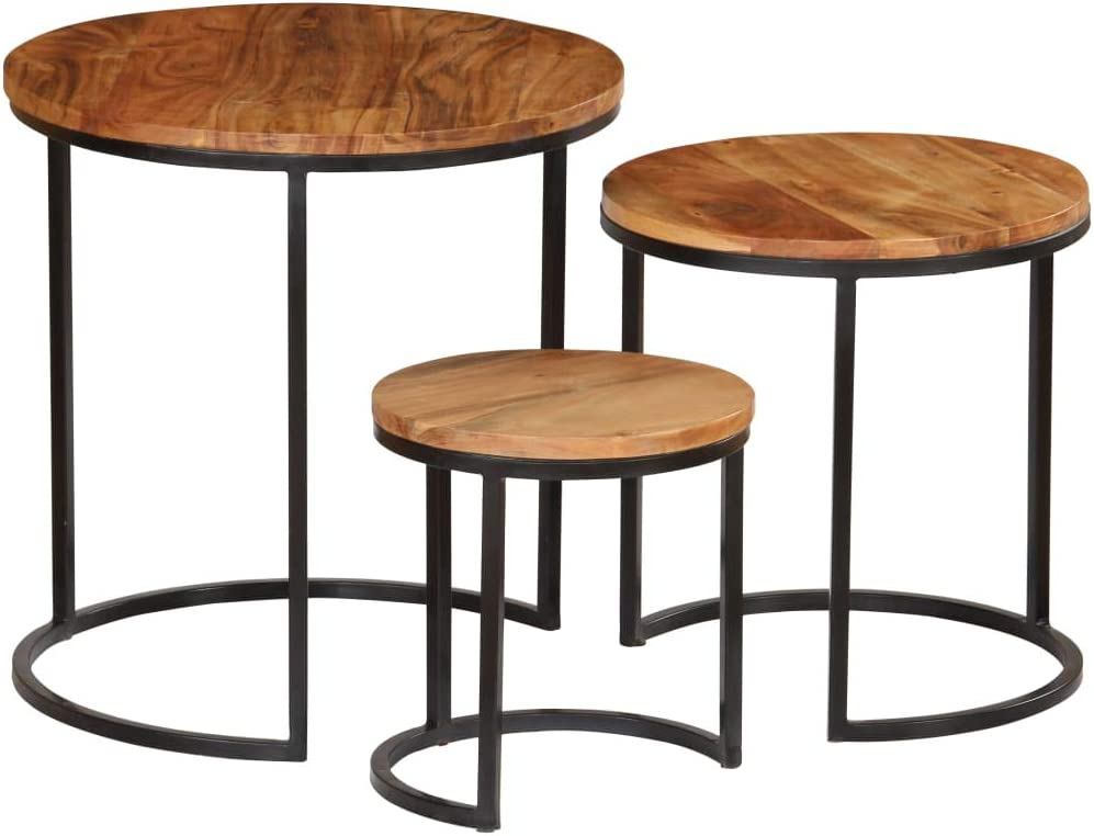 Coffee Table Set 3 Pieces Sheesham Wood Ranking TOP15 Acacia Solid Great interest Finish
