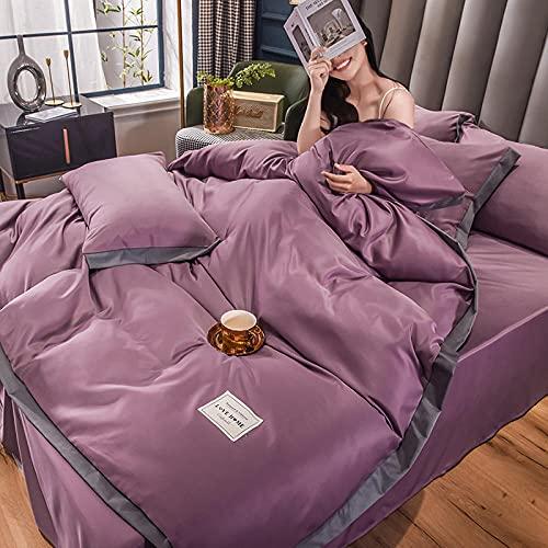 juego de funda nórdica negro,Lavar el conjunto de cuatro piezas de seda, cómoda sedosa cama de verano reversible de una sola almohada de la cama de la almohada Suministros de cama regalo-Automóvil cl