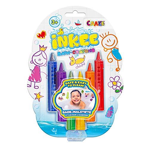 CRAZE INKEE Bath Crayons Kinder Bade-Buntstifte Abwaschbare Bademalstifte für Keramikoberflächen in 6, 28667