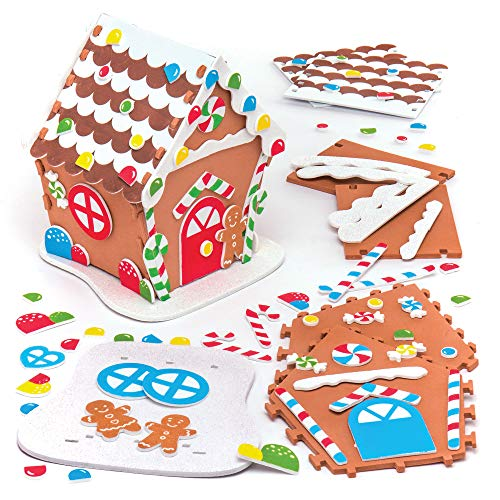 Baker Ross AR698 Gingerbread House Kits - Pack of 2, Decorate and Display for Christmas Decorations, Ideal Kids Arts and Crafts Project