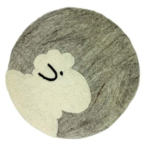 8-Natur® Rundes Stuhlkissen Filz Schaf hellgrau aus 100% reinem Merinofilz - Polster Sitzkissen mit ca. 35 cm Durchmesser für Stühle, Bänke und als Auflage (Hellgrau)