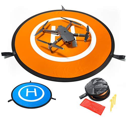 Drone Landing Pad by IbD-Tech, Waterproof, 30'' 76cm, Universal Landing Pad ,Fast-fold, Double Sided, Quadcopter Landing Pads for RC Drones Helicopter Compatible with DJI Spark Mavic Pro Phantom 2/3/4 Pro Inspire 2/1 3DR Solo Fimi x8 and any drone with a wingspan of less than 30' or 76cm