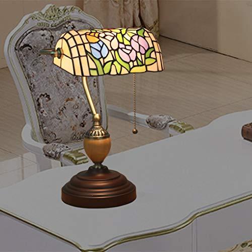 LANMOU Lámpara de Mesa Estilo Tiffany Lámpara de Banqueros Lámpara de Cabecera con Pantalla de Vitrales Antigua Lámpara de Escritorio Tradicional para Salón Dormitorio,Tulip