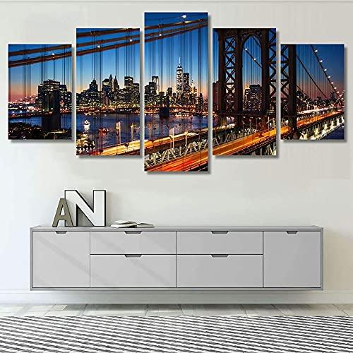WKXZZS Pintura sobre Lienzo 150x80cmNew York Manhattan - Paisaje Imagen Impresión, Pintura Decoración, Diseño de la Naturaleza, 5 Piezas, con Marco.