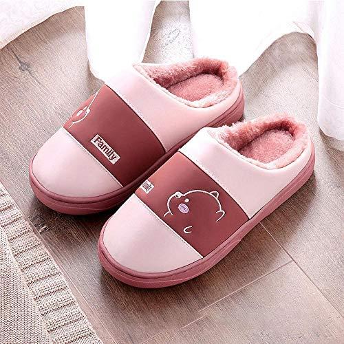 Hausschuhe Slipper Pantoffeln Damenfrauen Indoor Keep Warm Slippers Damen Schöne Plüsch Flats Schuhe Weiblich Light Casual Comfort Slipper Frau Soft Schuh 9.5 Rot