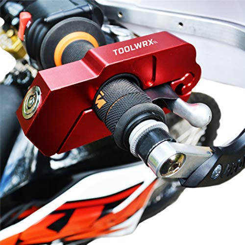 ToolWRX Motorcycle Lock - Best Quality Heavy Duty Anti Theft for Motorcycles Mopeds Scooters ATVs Street Bike Dirt Bike Motorbike use on Grip Brake Handlebar Simple & Quick with Lever Protector