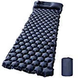 Camping Sleeping Pad with Built-in Pump Upgraded Inflatable Camping Mat with Pillow for Backpacking, Hiking, Traveling, Durable & Lightweight Air Mattress Compact Ultralight Hiking Pad