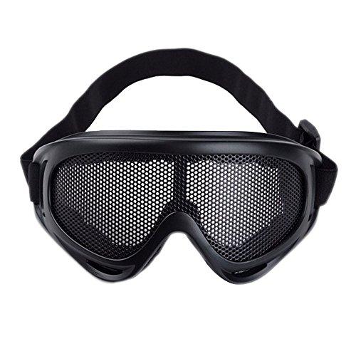 Alxcio Lunettes de Protection Visage Grillage Masque détachables pour Cyclisme Motocross Ski Snowboard vélo Cross ATV Google Anti-UV antibuée, activité extérieure, Noir