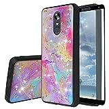 TJS Phone Case Compatible with LG Stylo 5/LG Stylo 5 Plus/LG Stylo 5V/LG Stylo 5X, [Full Coverage Tempered Glass Screen Protector] Shiny Glitter Back Skin Full Body Soft TPU Rubber Bumper (Rainbow)