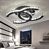 48W LED Deckenleuchte Modern Einfache Romantische Wohnzimmer Esszimmer Schlafzimmer K9 Crystal Klar Deckenlampe Edelstahl Spiegel Lampe Creative Studie Deckenbeleuchtung L75cm*W58cm Weißes Licht 6000K