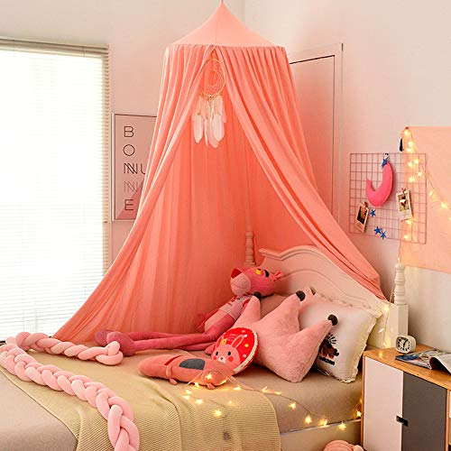 QYYL Bed Canopy, Children Bed Canopy Round Dome, Living Mosquito Net Nursery Net Hanging Curtain, Play Tent Crib Nook for Babies Children's Bedroom DIY (A/2,ø 65cm)