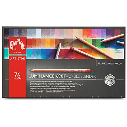 Caran D'Ache Luminance 6901 - Matite Colorate (scatola Di 76 pezzi + 2 Full Blender), multi