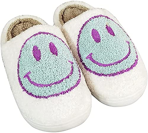 Retro Smiley Face Soft Plush Comfy Warm Slip-on Slippers, Home Cute Cartoon Non Slip Indoor Furry Warm House Shoes for Winter (White Green,6-7 Women 5.5-6 Men)