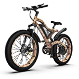 AOSTIRMOTOR Fat Tire Electric Bike 1500W Electric Mountain Bike 48V 15AH Samsung Removable Lithium Battery 26 ''4 inch Electric Bike for Adults Powerful Ebike for Cycling Enthusiasts(Snake)