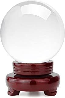 hblife Clear Crystal Ball 4 Inch (100mm) Including Wooden Stand and Gift Package for Family Decorative Figurine Fortune Telling