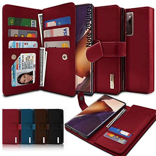 VVUPIC Brand Galaxy Note 20 Ultra Wallet Case, Luxury [Dual Flip] with Magnetic Closure, PU Leather, 11 Card Slot Included Convenient Dual Flip Cover Case - Red