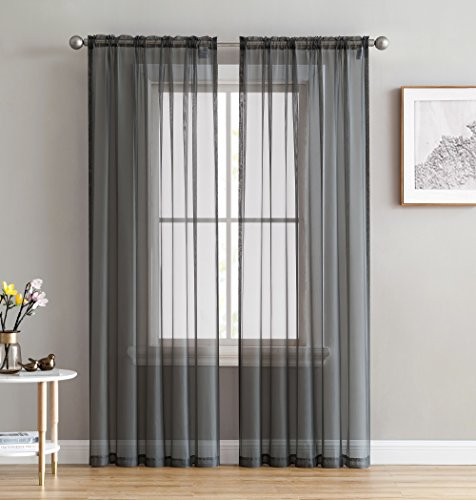 HLC.ME Charcoal Grey Sheer Voile Window Treatment Rod Pocket Curtain Panels for Bedroom, Kitchen, and Living Room (54 x 72 inches Long, Set of 2)