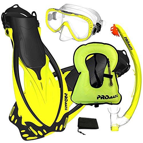 Promate Snorkeling Vest Jacket Mask Fins Dry Snorkel Gear Set, Yellow, MLXL