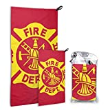 CCGGJPYI Fire Fighters Fire Department Quick Dry Towel for Home Gym, Beach, Sports, Camping and Travel, 2 in 1 - Smaller Hand Towel Included