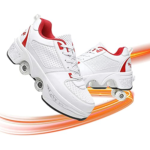 JZIYH Cómodo Zapatos Multiusos 2 En 1 Patines Zapatillas Deportes Al Aire Libre De Deporte Rodillo Shoes Sneakers Genial para Niños Y Niñas