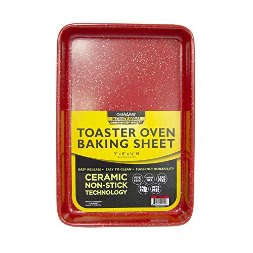 casaWare 9 x 6 x 0.75-Inch Toaster Oven Ultimate Series Commercial Weight Ceramic Non-Stick Coating Baking Pan (Red Granite)