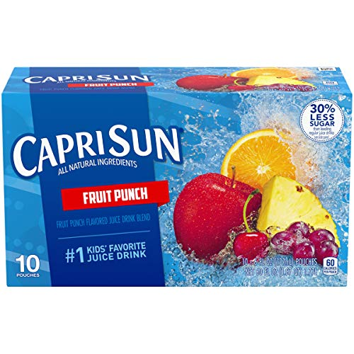 Capri Sun Fruit Punch Flavored Juice Drink Blend, 10 ct - Pouches, 60.0 fl oz Box (Pack of 4)
