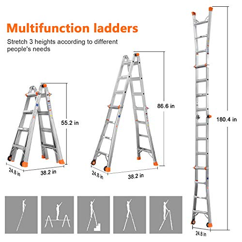 OT QOMOTOP Ladder, 17 FT Max Telescoping Ladder with Wheels, 300 lbs Load Capacity Step Ladder, 5 Models to Switch, Suitable for Various Scenes Indoor and Outdoor