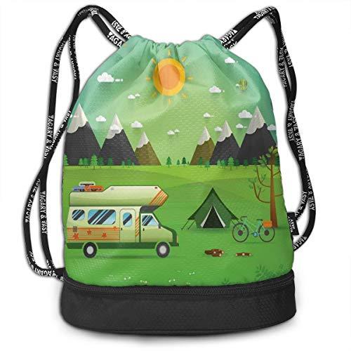 DPASIi Mochilas con cordón, para caravana familiar con bicicleta y globos al aire libre, paisaje de montaña, dibujos animados, cierre de cuerda ajustable.
