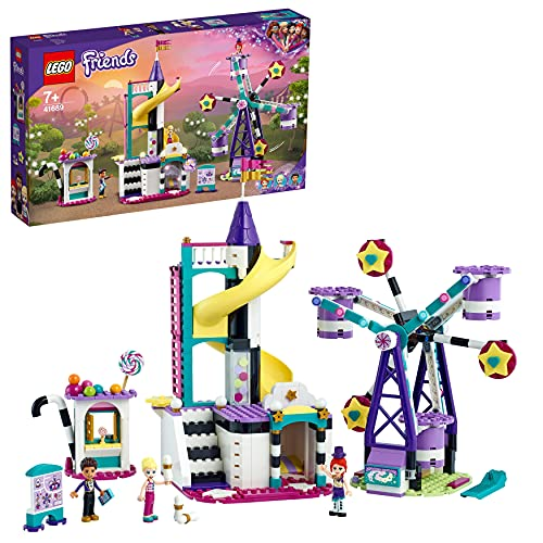 LEGO 41689 Friends Magical Funfair Ferris Wheel and Slide Playset, Amusement Park Toy for Kids with Magic Trick
