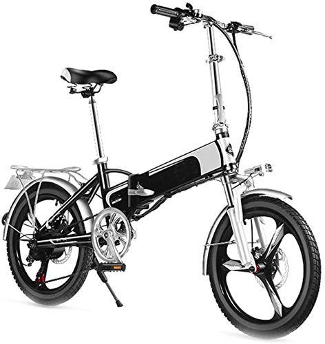 RDJM Bici electrica, Adulto Mini Bicicleta eléctrica, Frenos de Disco Doble 20 '' Plegable Bicicleta eléctrica con Control Remoto de Alarma Inteligente del Viajero Urbano E-Bici batería extraíble