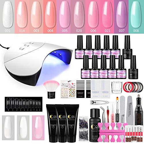 UV Gellack Set 10 Farben Gel Nägel Maniküre Set 36W UV/LED Nagellampe UV Nagellack Set mit 3pc Schnell Aufbau Gel uv Gel Lacken Starter Set
