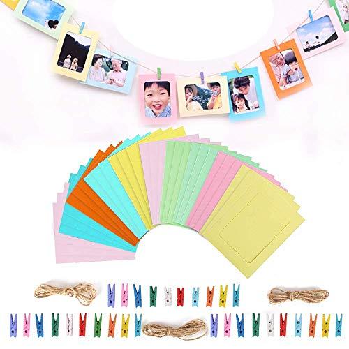 Papier-Bilderrahmen,Bunahome 30 Stück Wand Dekor DIY Papier Fotorahmen mit Mini-Holzklammern und Bilderrahmen aus hängendem Karton