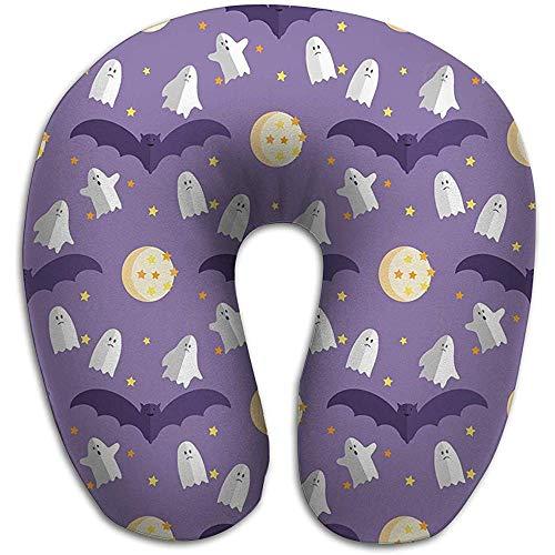 Almohada en Forma de U Cuello Almohada de Viaje Coche Avión Patrón de Halloween Plantilla de Vacaciones Castillo embrujado Árboles Murciélagos Luna Llena Color