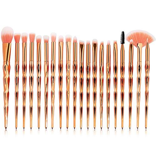 Ensemble de brosse de maquillage, 20pcs Premium Eye brosses cosmétiques pour eyeliner Eye Shadow sourcil, fibre synthétique poils cosmétiques mélange brosse outil,RoseGold