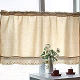 choicehot Cortinas de estilo rústico, retro, de algodón y lino, cortas, estilo europeo, color beige, ganchillo, cortina de bistro, vintage, encaje, 1 pieza, altura de 90 x 120 cm