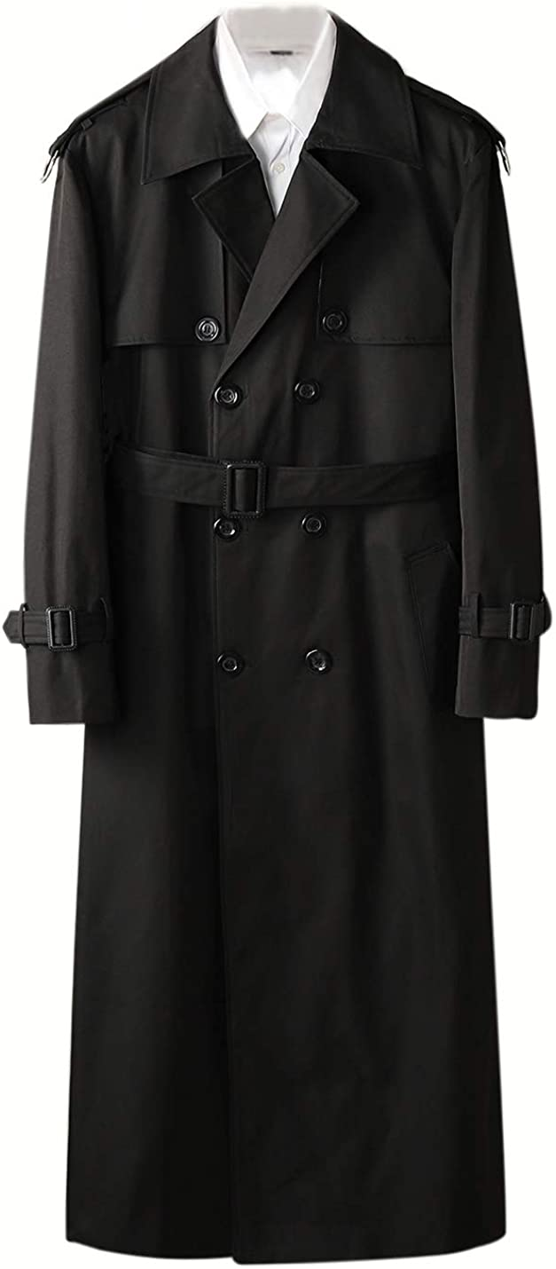 PUWEI Men's Lapel Loose Double Breasted Fleece Lined Long Belted Trench Coats