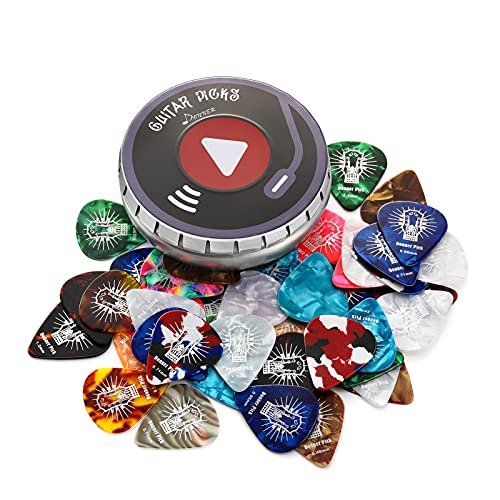 Donner Celluloid Guitar Picks 48 Pack with Case Includes Thin, Medium, Heavy & Extra Heavy Gauges