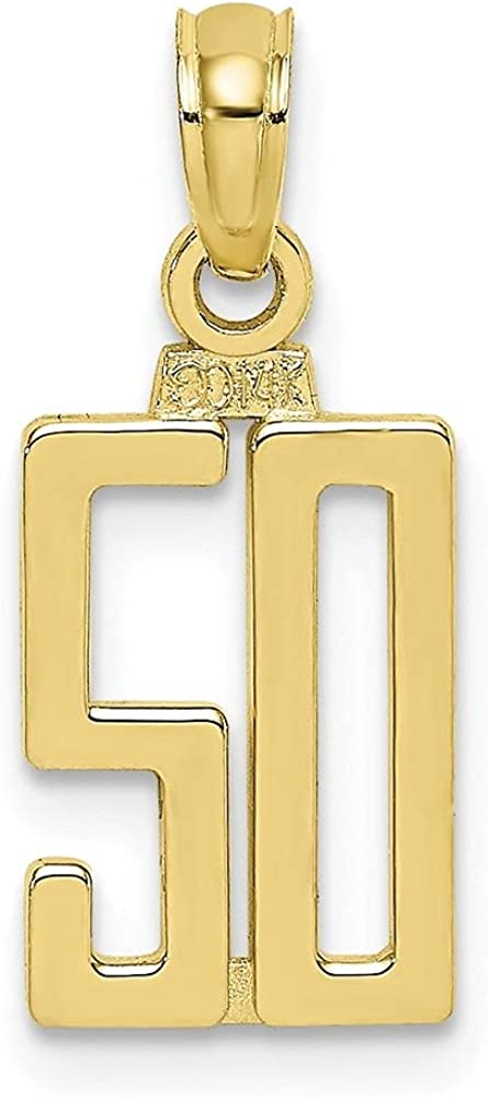 10k Yellow 5 ☆ popular Gold Shipping included Number 50 Pendant W- 8.5 L- mm 13.4