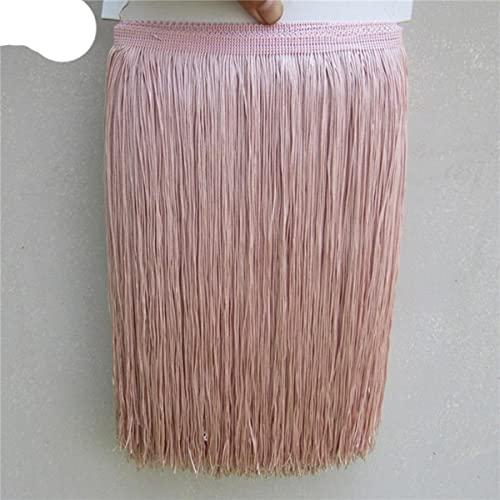 10 Yardas / Lote 30 CM de Largo Poliéster Borla Borde de Flecos de Encaje Africano para Coser Vestido Latino Accesorios de Ropa Ribbon-10yards, Bean Pink