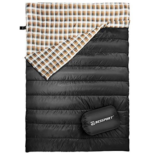 Bessport 2 Person Sleeping Bag,Water Repellent Sleeping Bags Lightweight 3 Season for Adults for Camping, Hiking, Outdoor & Indoor