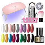 TOMICCA Gel Nail Polish Starter Kit with Portable 6W Mini UV LED Light