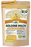 Bio Goldene Milch Golden Milk Kurkuma Latte Mix 250 GR. +25 GR.extra XXL Pack mit Ingwer, Ceylon Zimt, Ashwaganda, Ceylon Pfeffer, Kokosblütenzucker I Made with Love