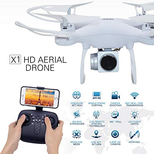 RC Drone X Pro with 720P HD Adjustable Camera Live Video FPV for Adults and Beginners 40mins Flight Time Drone Quadcopter,Altitude Hold/Long Flight Time Helicopter Toy Bonus Battery (White)