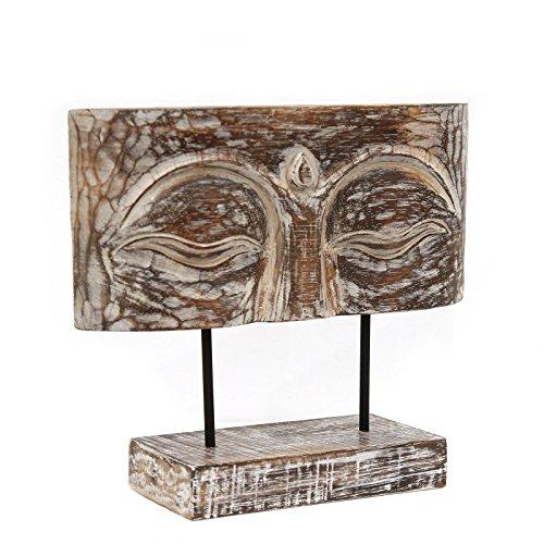 NaRoom Buddha Relief 30 cm Augen | Gesicht Skulptur auf Sockel Ständer Deko Statue Figur Albesia Holz