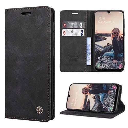 RuiPower Kompatibel für Samsung Galaxy A40 Hülle Premium Leder PU Handyhülle Flip Hülle Wallet Lederhülle Klapphülle Klappbar Silikon Bumper Schutzhülle für Samsung A40 Tasche - Schwarz