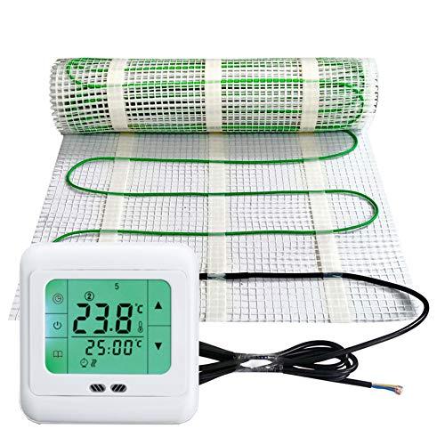 Elektrische Fußbodenheizung 200Watt je m² Thermostat Touch weiß Elektrisch TWIN Technologie JWS verschiedene Größen, Größe (m²):1.5 m²