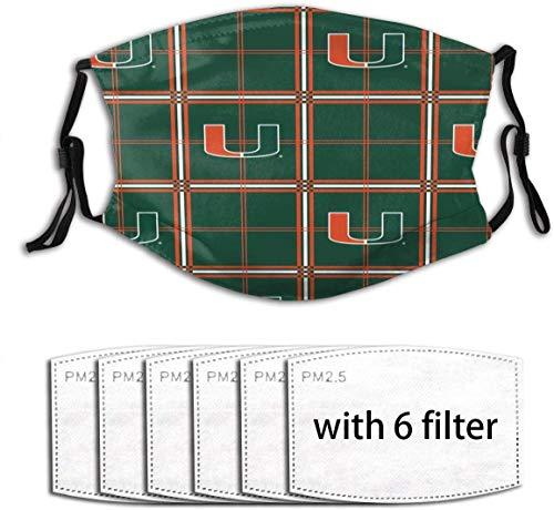 Uuuuk Miami Hurricanes - Protector bucal, bufanda para exteriores, resistente al polvo, pasamontañas, manguito para cuello, filtro de talla única