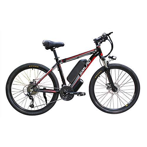 Hyuhome Las Bicicletas eléctricas para Adultos, IP54 Impermeable 500/1000W Ebike de aleación Aluminio Bicicletas 48V 13Ah Iones Litio Bicicletas montaña/batería/conmuta Ebike,Black Red,500W